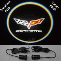 Car LED door lights for Corvette led logo light led car Decoration door prejection welcome light with timer blink 5th Gen