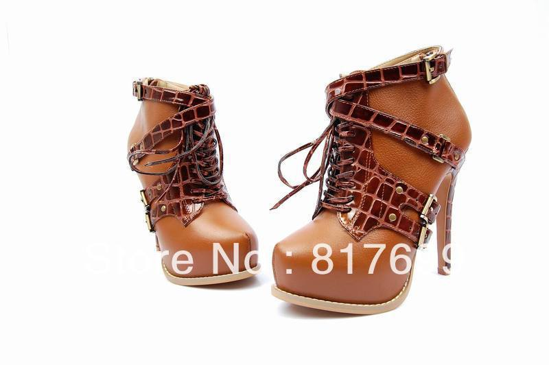 Wholesale cheap genuine leather high heel china shoes boots 2013 dropship(China (Mainland))