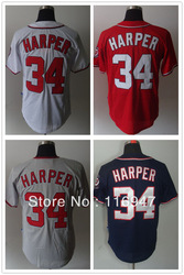 Baseball Jerseys Washington Nationals #34 Bryce Harper 4 Colors Coolbase Baseball Jersey size 48-56(China (Mainland))