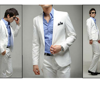 SA02 New Mens Fashion Stylish Slim Fit Complete Suits and Pants One Button White 5size