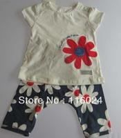 retail  baby girl cotton 3 pcs summer clothing sets flower hair band+short sleeve t shirt+short pants fashion suit