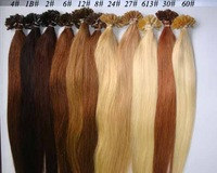 100S Pre Glue Bond U Nail Tip Keratin Straight Human Hair Extensions Color 4#  total 11colors  wholesale discount/Free Shipping