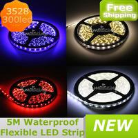 5M 3528 SMD 300LED Flexible Light Strip Car Lamp Waterproof  Led Light Strip Aquarium Fish Tank Decoration LED + DC 12V Adapter
