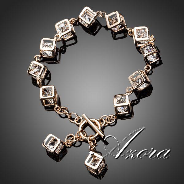 AZORA Brand Design 18K Real Gold Plated Stellux Austrian Crystal 12pcs Cube Charm Bracelet TS0023(China (Mainland))