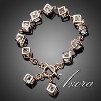 AZORA Brand Design 18K Real Gold Plated Stellux Austrian Crystal 12pcs Cube Charm Bracelet TS0023