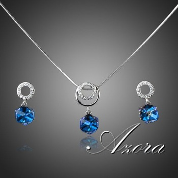 Platinum Plated Bule SWA ELEMENTS Austrian Crystal Cube Drop Earrings and Necklace ...