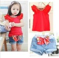 Newest Design!!5sets/lot Baby Girl Sweet suits,Red T-shirt+Cute bowknot shorts 2pcs set,Girl Summer clothing set,Soft Wear