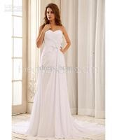Beach Style A Line Sweetheart Court Train White Pleated Beads Long Chiffon Bridal Wedding Dresses