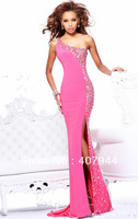 FREE shipping designer 2013 NEW arrival pink chiffon long dress one shoulder A-line crystals evening dress