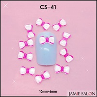 Cute 3D Round Dark Pink Edge White Resin Shinny Bowknot Nail Art Decoration Nail Bow 100pcs/lot Size: 10*6mm #CS-41