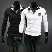 Free Shipping New Men's  T-Shirts 2013T-shirts,Casual Slim Fit Stylish long T-shirts Color:Black,White Size:M-XXL