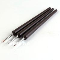 Free Shipping Wholesale 10sets/lot 3 xBlack Acrylic Nail Art Drawing Pen Painting Liner Striping Brush Set Dotting Tools