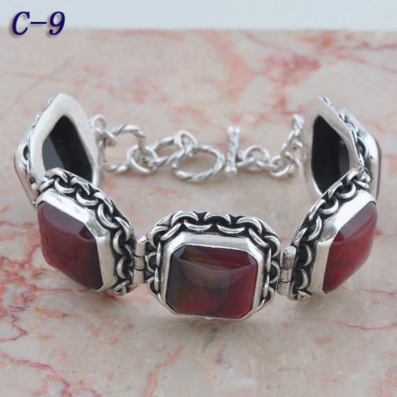 red india agate 925 Silver European Girls Jewelry Wrap Chunky Chain Bracelets On Sale c-9(China (Mainland))