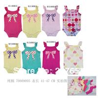 free shipping 28pcs /lot baby wear infant  clothing baby girls summer  bodysuit baby girl printing bow bodysuit