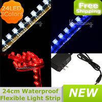 Free Shipping 24cm Fish Tank Flexible Light Strip Aquarium CAR Greet Wall  24 LED Light Lamp Strip + DC12V Adapter