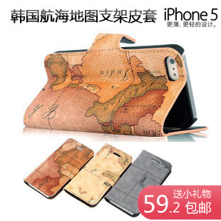 For for iphone 5 phone case map flip leather case for apple phone case 5 female protective case mobile phone case
