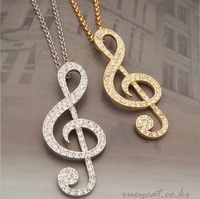 Min. order is $10(mix) hot muscial note necklace fashion statement sweater necklace wholesale jewelry