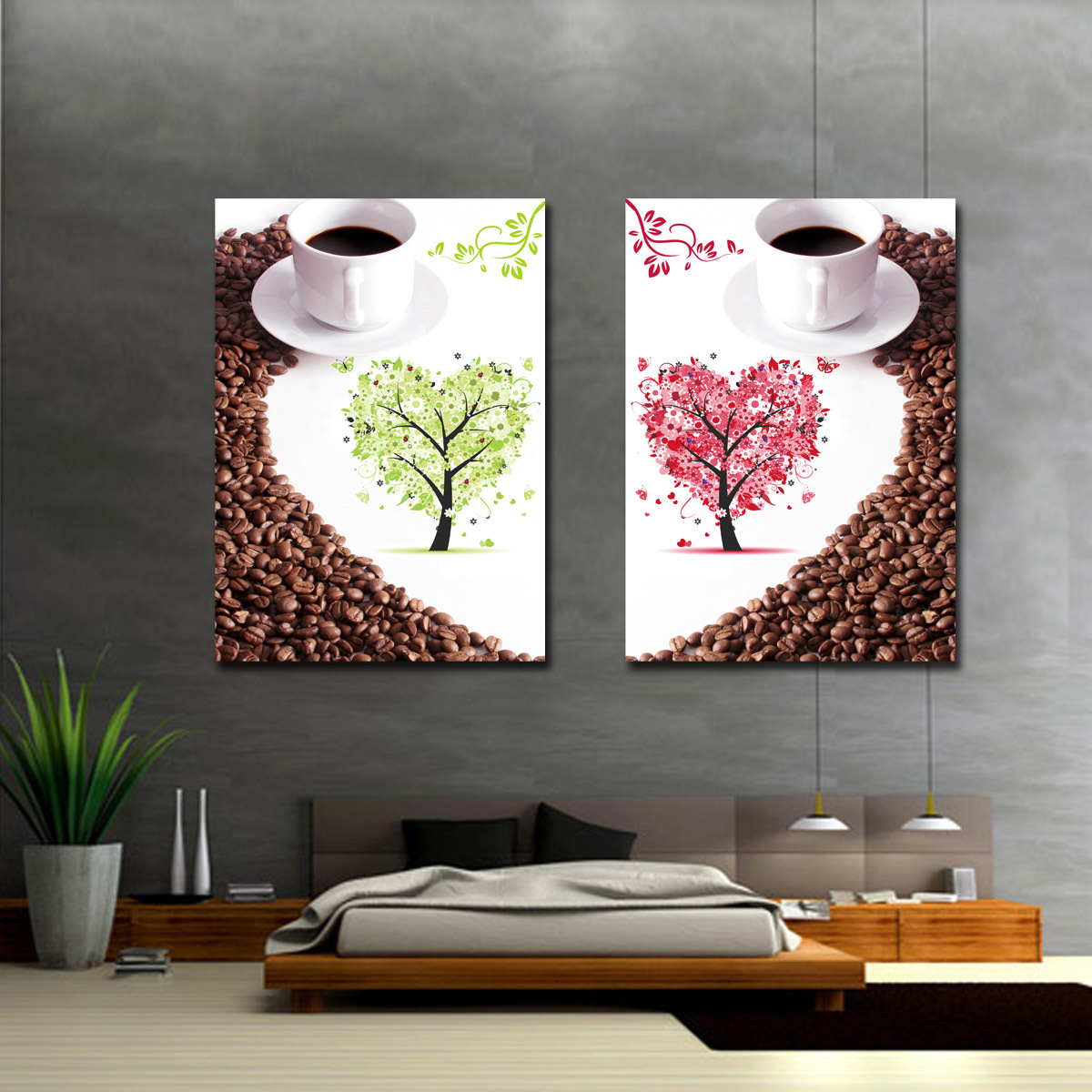 Picture frame fashion home decorative painting happy tree coffee(China (Mainland))