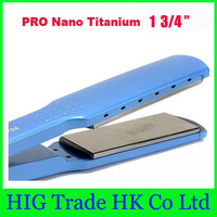"Free shipping!! pro titanium nano hair straightener 1 3/4"" flat iron nano titanium plates with retail box"