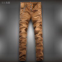 Free Shipping 2013 water wash fashion straight pants male the trend of casual slim jeans chain