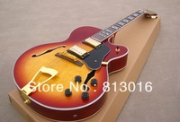 Free shipping Wholesale custom right hand Hollow Body ES335 Jazz Electric Guitar honey  sunburst F-hole with gold hardware!
