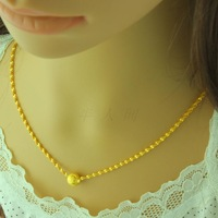 Hot-selling gift gold plated necklace gold necklace wave chain bead transfer alluvial gold necklace