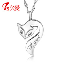 925 pure silver fire fox necklace female short design chain personalized pendant