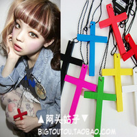 HARAJUKU chromophous zipper punk stripper candy color wool cross necklace