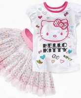 (5 pieces/lot) Children's Outfits Sets girl's hello kitty suit short sleeves T-shirt+Net yarn cake skirt  2 pcs sets