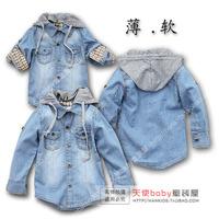 Children's clothing spring male child with a hood thin ultra soft denim coat child denim outerwear cardigan shirt