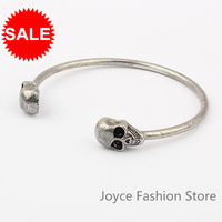 Min order $10, HOT!  Bronze Silver Two Colors Cool Casual Metal Alloy Double Skull Head Bangle Fashion Cuff Bangle Bracelet