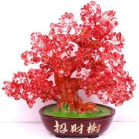 Free shipping Natural red crystal lucky tree crystal lucky money tree Office work desk decoration furnishing articles