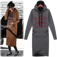 free shipping  winter thickening fleece ultra long paragraph sweatshirt loose women's pullover hoodie