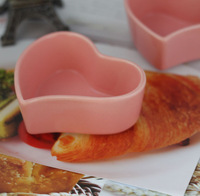 Pink heart oven ceramic roasted souffle cup bake bowl