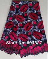 Free shipping 100% cotton lace swiss voile lace high quality embroidery fabric D9032-2 black+red