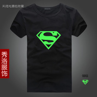 free shipping Luminous super man mark of t-shirt light-emitting luminous short-sleeve t-shirt super man mark of clothes