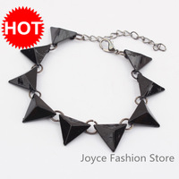 Min Order $10 Casual Fashion Cuff Bangle Bracelet,Punk Triangle Button Nail Spike Bracelets Jewelry