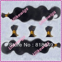 "AAA+ Brazilian Queen Hair Products 18"" #1b Body Wave I Stick Tip Brazilian Virgin Human Hair Extension (0.8g/strand x 100)"