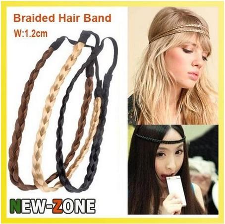Free Shipping 3PCS Hot Pretty Girl Plait Braided Hair Head Band Plaited Colors Braid Headband Hair Extension Gold/Brown/Black(China (Mainland))