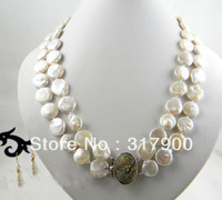 2strands 20&quot;14mm white coin freshwater pearl earring necklace Set