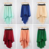 New fashion sexy Women's Low-high irregar dovetail skirt ladies chiffon skirt with elastic waist 9 colors free shipping