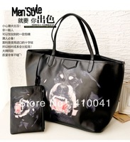 Fashion High quality Lay's Rottweiler vicious dog Kobold printing PU shoulder shopping totes bag big handbag Free Wallet+Clutch