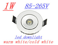 hot sale !!! 1W LED Recessed Downlight Cabinet Lamp silver shell 85-265v down light+ driver +free shipping 10pcs/lot