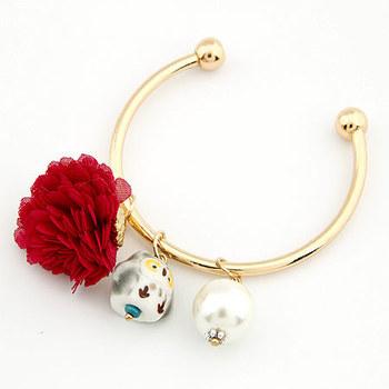 Fashion sweet flower owl pearl bangle