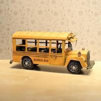 [Vic] Free Shipping Car model tieyi school bus school bus vintage model desktop decoration alloy  metal car model 31.5*11*14cm