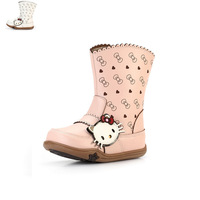 free shipping  children shoes 2013 spring laser cutout medium-leg boots hello kitt fashion boots