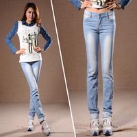 Roll up hem jeans female thin slim plus size pencil pants light blue trousers
