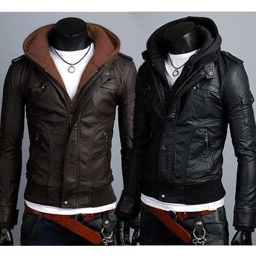 Slim Fit Faux Leather Jacket Men