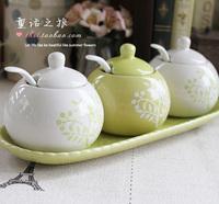 Zakka japanese style vintage fresh colored drawing ceramic spice jar kitchen supplies fashion castoffs set 6
