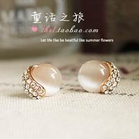 Accessories earring earrings fashion vintage circle - eye moonstone elegant sparkling diamond stud earring s29